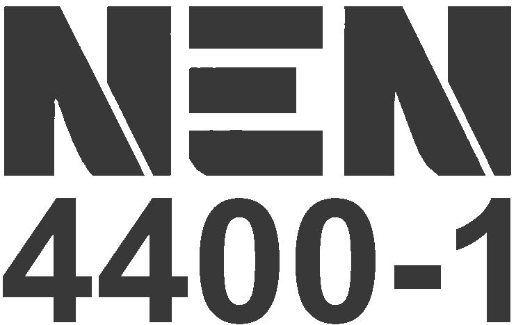 Kantoor Schoonmaakbedrijf, zwart logo van NEN4400-1 certificaat